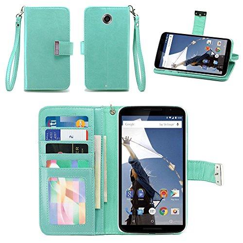 IZENGATE Google Nexus 6 Wallet Case - Executive Premium PU Leather Flip Cover Folio with Stand (Mint) (Nexus 6 Love Case)