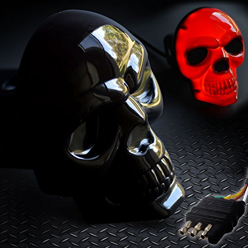 Skull Hitch Cover Black 6529 LED Tow Hitch Light Cover Fits 2