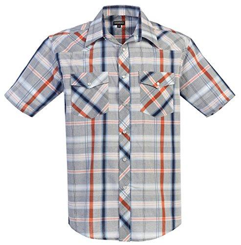 [Gioberti Men's Plaid Western Shirt, Gray / Navy / Orange, Medium] (Orange Plaid Western Shirt)