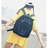 GUAngqi School Bag Shoulder Bag Backpack Girl Women Cute Lovely Cat Printed Canvas Backpack