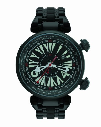 - Gio Monaco Men's 701 Geopolis Automatic Black Dial PVD Stainless Steel GMT Watch