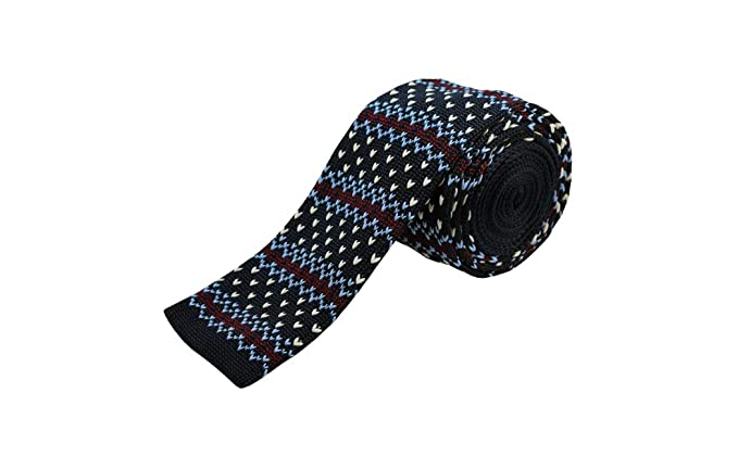 be018270a9ef Navy Blue, Burgundy Striped w/Designs Men's Knit Tie at Amazon Men's ...
