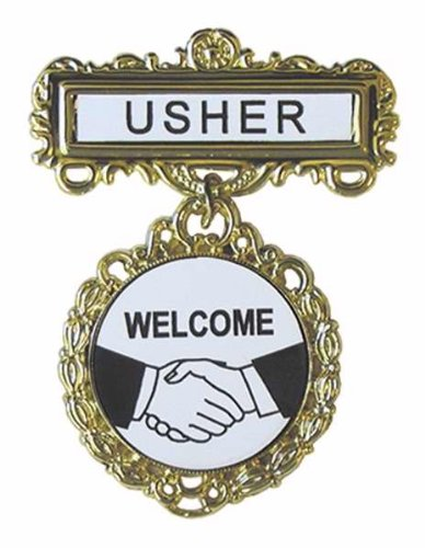 Swanson Christian Supply 80806 Badge Usher Welcome Pin Back Fancy Round Brass (Usher Pins)