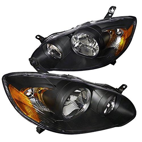 Spec-D Tuning 2LH-COR03JM-RS Toyota Corolla Black Crystal Headlights (Crystal Corolla Toyota)