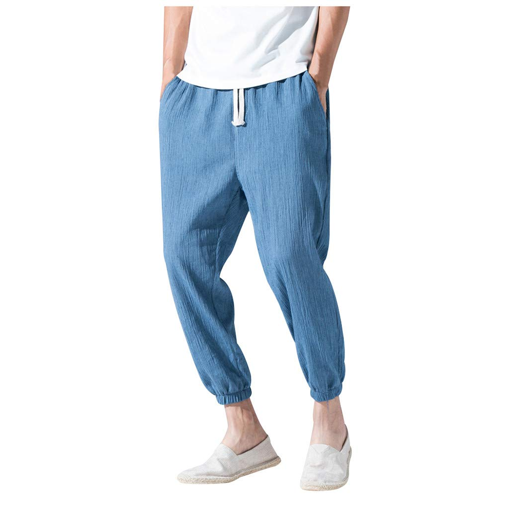 Zainafacai_shorts Men's Cotton Linen Pant Drawstring Elastic Waist Casual Loose Ankle-Length Trouser Pants Blue