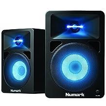 "Numark N-Wave 580L | Powered Desktop DJ Monitor Speakers with Pulsating LED Lights (5.25"" woofer / 40 watts)"