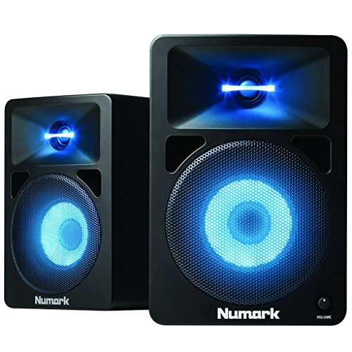 2 Way Compact Shielded Speakers (Numark N-Wave 580L | Powered Desktop DJ Monitor Speakers with Pulsating LED Lights (5.25