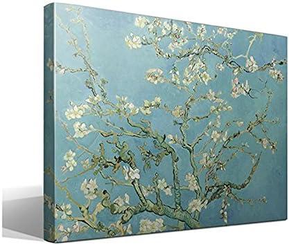 Cuadro Canvas Almendro en Flor de Vincent Willem van Gogh - Ancho: 95cm - Alto: 70cm - Bastidor: 3cm - Imagen alta resolución - Impresión sobre Lienzo de Algodón 100% - Fabricado en España