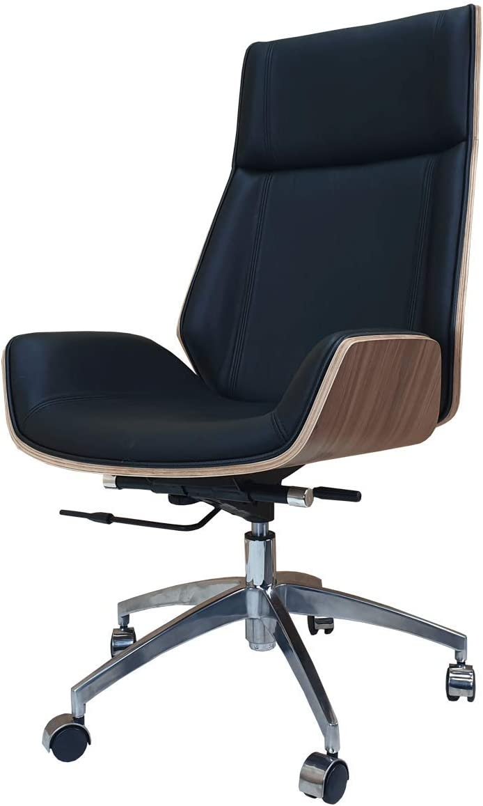 Designer High Back Office Chair Walnut Wood Black Leather Amazon Co Uk Office Products