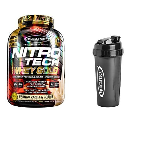 - MuscleTech NitroTech Whey Gold, 100% Whey Protein Powder, Whey Isolate and Whey Peptides, Vanilla, 5.5 Pound and Bottle Shaker Cup, 28 Ounce