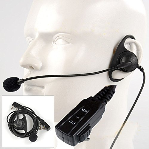 F YL D-Shape Earpiece/Headset Boom Mic For Kenwood Radio Walkie Talkie Hand Free VOX