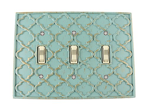 (Meriville Moroccan 3 Toggle Wallplate, Triple Switch Electrical Cover Plate, Buckingham Green with Gold)