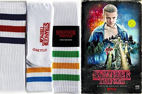 Stranger Things Tube Socks Exclusive Set DVD & Blu Ray VHS Box Season 1 / Striped White 3pk