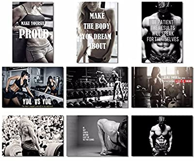 9x Poster Fabric Bodybuilding Men Girl Fitness Workout Quotes Motivational Inspiration Muscle Gym Font