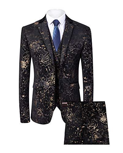 (MAGE MALE Men's Pinstripe 3 Piece Suit Slim Fit Elegant Single Breasted Business Wedding Party Blazer Vest& Pants Set (Black, L))