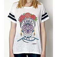 Camiseta Mujer Oversize Catrina con Flores pintada a mano