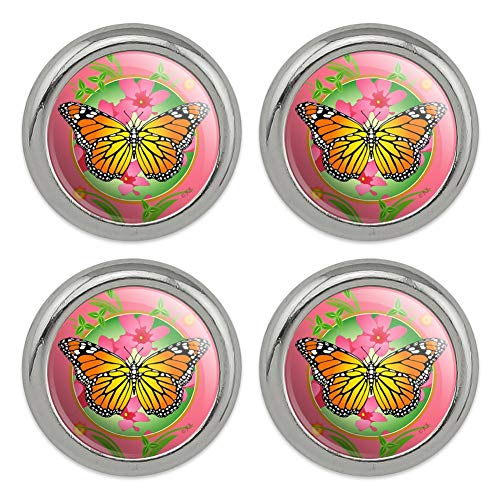 Orange Butterflies Design Snap - Orange Butterfly Pink Flowers Metal Craft Sewing Novelty Buttons - Set of 4
