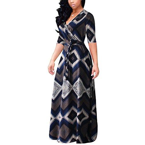 (Akmipoem Women Half Sleeve Floral Print Self-tie Surplice Swing Maxi Bohemian Dress, X-Large/US 12 )