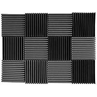 "(12 Pk) Charcoal  acoustic foam tiles soundproofing foam panels sound insulation soundproof foam padding sound dampening Studio sound proof padding 1"" x 12"" x 12"""
