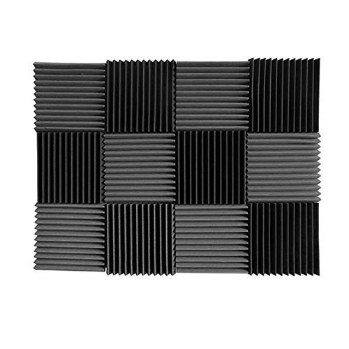 "(12 Pk) Charcoal Acoustic Foam Tiles Soundproofing Foam Panels Sound Insulation Soundproof Foam Padding Sound Dampening Studio Sound Proof Padding 1"" X 12"" X 12"""
