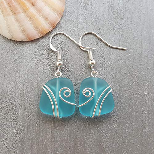 (Handmade in Hawaii, wire wrapped turquoise bay blue sea glass earrings,