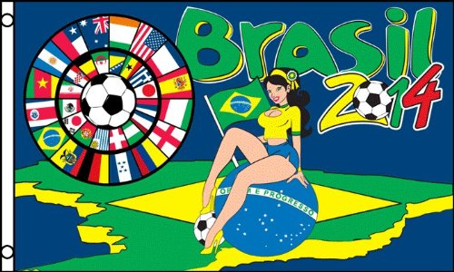 FOOTBALL WORLD CUP 2014 WITH BRAZILIAN GIRL FLAG 3' x 5' - B