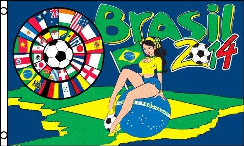 FOOTBALL WORLD CUP 2014 WITH BRAZILIAN GIRL FLAG 3' x 5' - B