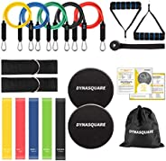 DYNASQUARE 19 Pack Resistance Bands Set, Stretch Training Set with 5 Resistance Tubes, up to 150LBS, 5 Exercis