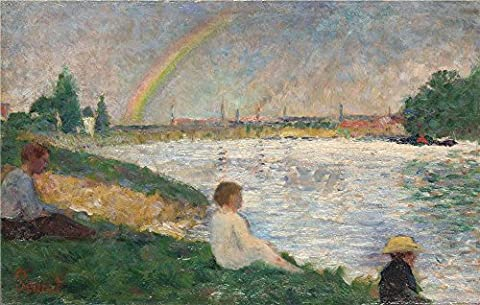 'Georges Seurat The Rainbow Study For 'Bathers At Asnires' ' Oil Painting, 16 X 25 Inch / 41 X 64 Cm ,printed On High Quality Polyster Canvas ,this Vivid Art Decorative Prints On Canvas Is Perfectly Suitalbe For Wall Art Decor And Home Decor And - Aqua Stripe Wall Sconce
