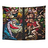 Emvency Tapestry Nativity Stained Glass Window Depicting Biblical Christmas Scene The Birth of Jesus Christ Religious Home Decor Wall Hanging for Living Room Bedroom Dorm 60x80 inches