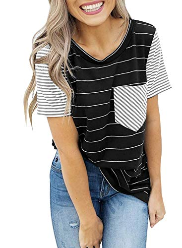- HOTAPEI Short Sleeve Summer Shirts for Women Plus Size Striped Tunic Contrast Color Round Neck Loose Casual T-Shirt Ladies Tops Black and White US 8 10