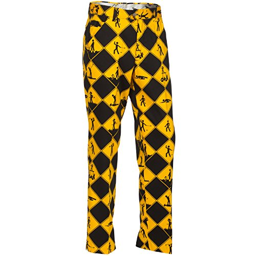 Funky Golf - Royal & Awesome Swing Under Construction Patterned Mens Golf Pants - 32W x 32L