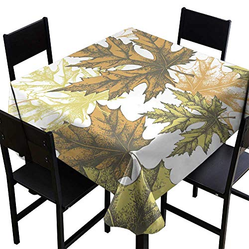 (Warm Family Stain-Resistant Tablecloth Seamless Wallpaper with a Maple Leaf Hand-Drawing Vector Illustration for Kitchen Dinning Tabletop Decoration W54 x L54)