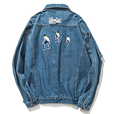 Esast Men's Fashion Loose Casual printing pocket Denim Jacket