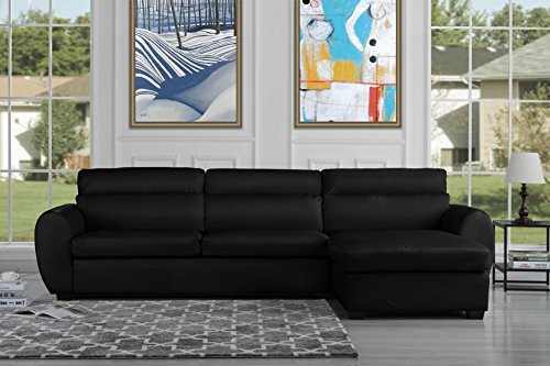 Modern Bonded Leather Sectional Sofa, Large Living Room L Shape Couch (Black) - Leather Sectional Sofa Couch