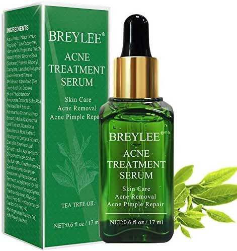 Acne Treatment Serum, BREYLEE Tea Tree Clear Skin Serum for Clearing Severe Acne, Breakout, Remover Pimple and Repair Skin (17ml,0.6oz)
