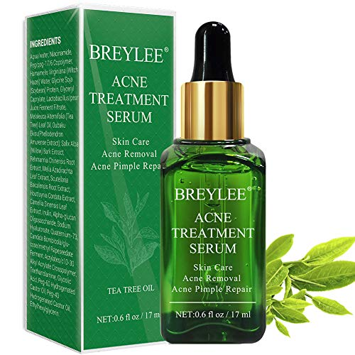 Acne Treatment Serum, BREYLEE Tea Tree Clear Skin Serum for Clearing Severe Acne, Breakout, Remover Pimple and Repair Skin (17ml,0.6oz) (Best Treatment For Red Acne Scars)