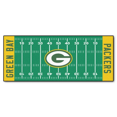 FANMATS NFL Green Bay Packers Nylon Face Football Field Runner (Nfl Football Team Area Rug)