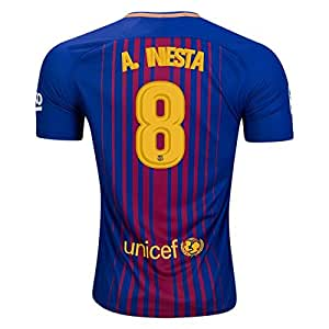 Mens 8 Andres Iniesta Barcelona Home Jersey 2017/18 M