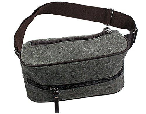BONAMARTMen Women Canvas Flat Waist Satchel Cross Body Bag Shoulder Backpack for Sport Travel