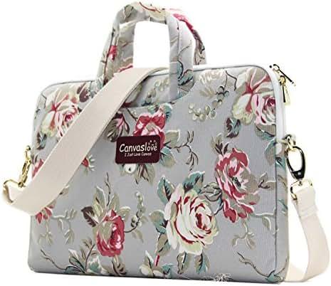 Canvaslove Grey Rose Pattern 13 inch Canvas Laptop Shoulder Messenger Bag for 11 inch 12 inch 13.3 Inch Laptop