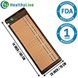 HealthyLine Infrared Heating Mat - Pain Relief Sore Muscles, Arthritis and Injury Recovery (Soft & Flexible, Full-Body) 74″ x 28″| Natural Amethyst, Jade & Tourmaline Ceramic | ​​US FDA