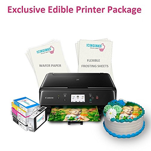 anon Edible Image Printer for Cakes, Exclusive Edible Printer Package with 2 Types of 110 Assorted Edible sheets,Flexible Frosting Sheets,Wafer Paper & Set of Edible Ink Cartridges ()