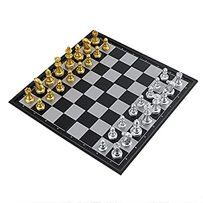ISOTO Gold and Silver Magnetic Chess Set With Folding Chess Board Educational Toys for Kids and Adults Travel