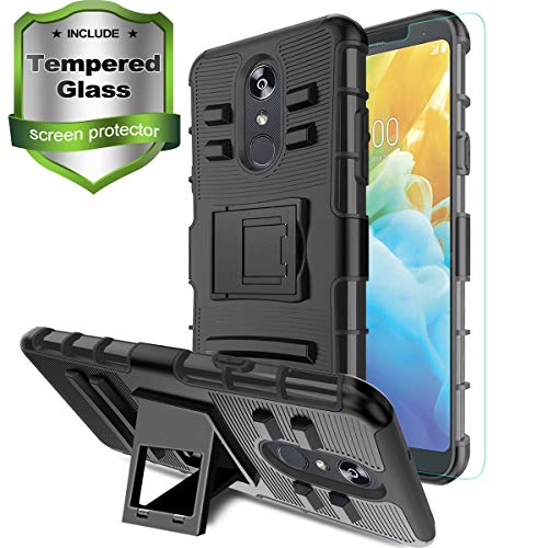 Aetech Phone Case for LG Stylo 4 Case, LG Stylo 4 Plus/Stylo 4+/Q Stylus/Stylus 4/LG L713/Q710 Cell Phone Case, with Tempered Glass Protector Screen Kickstand Stand Cover, Black