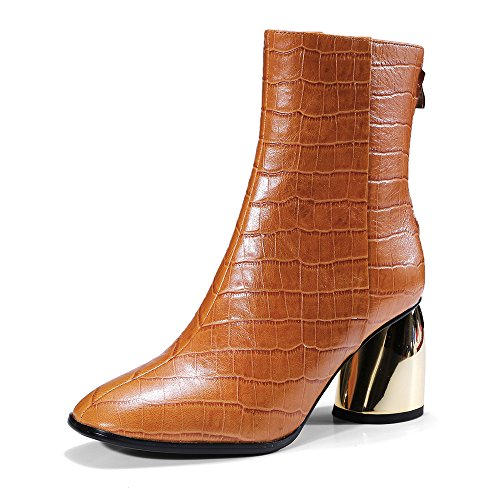 Nine Seven Genuine Leather Womens Round Toe Chunky Heel Unique Handmade Retro Elegant Ankle Boots Brown pYHDyq
