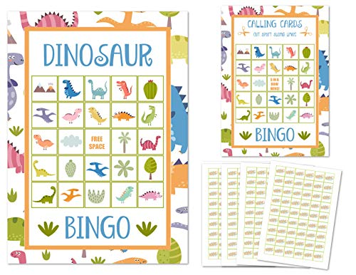 Dinosaur Bingo Cards Kids Party Games for All Ages for 24 Players or Guests