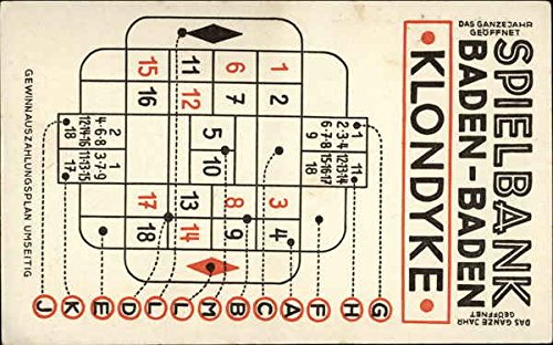 Casino - Klondyke Game Card Baden-Baden, Germany Original Vintage Postcard from CardCow Vintage Postcards