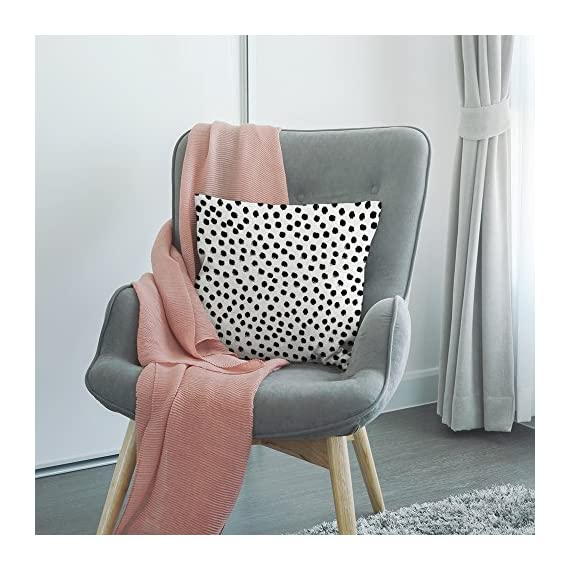 """HGOD DESIGNS Polka Dots Decorative Throw Pillow Cover Case,Brush Strokes Dots Cotton Linen Outdoor Pillow Cases Square Standard Cushion Covers for Sofa Couch Bed 18x18 inch Black - Made of durable high quality cotton linen Burlap material,no peculiar smell,comfortable,breathable,durable and stylish. Dimensions: 18"""" x 18"""" inch (1-2cm deviation).Please ensure your pillow is suitable for this size.it is easy to install. This Polka Dots pillow cover pattern is print on the both side.it will decorate your house well,Brings Luxury Look To Your Home Decorative, Living Rooms, Sofa, Couch, Chair, Bedrooms, Offices - patio, outdoor-throw-pillows, outdoor-decor - 51peOpzpUSL. SS570  -"""