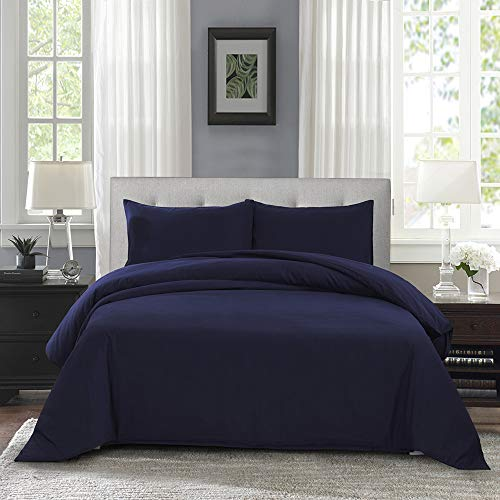 OAITE Duvet Cover,Protects and Covers Your Comforter/Duvet Insert,Luxury 100% Super Soft Microfiber,Queen Size,Color Silver Gray,3 Piece Duvet Cover Set Includes 2 Pillow Shams (Deepblue, Queen)
